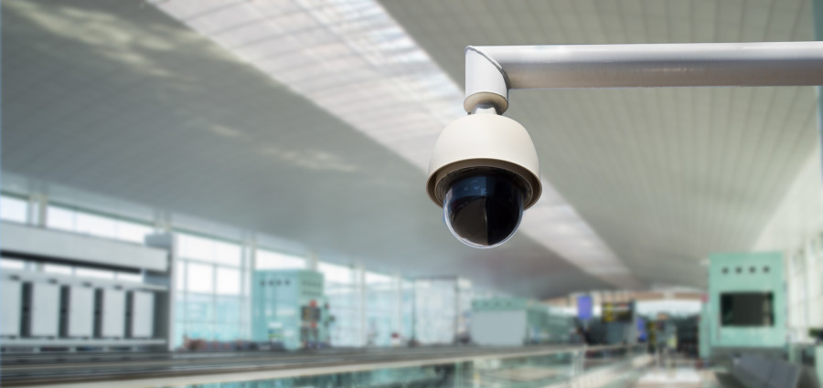cctv security camera in an airport waiting zone